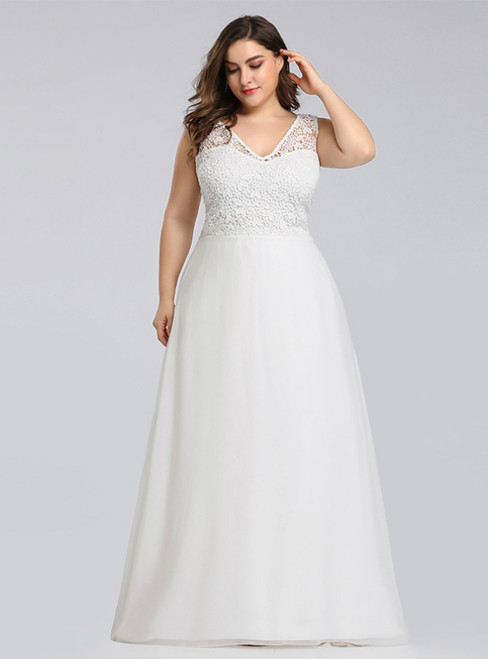 Brand New A-Line White Chiffon Lace V-neck Plus Size Prom Dress