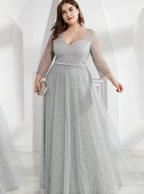 Find The Perfect A-Line Gray Tulle Lace Long Sleeve V-neck Plus Size Prom Dress