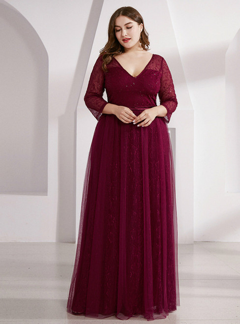 Find And Buy The Perfect A-Line Burgundy Tulle Lace Long Sleeve V-neck Plus Size Prom Dress
