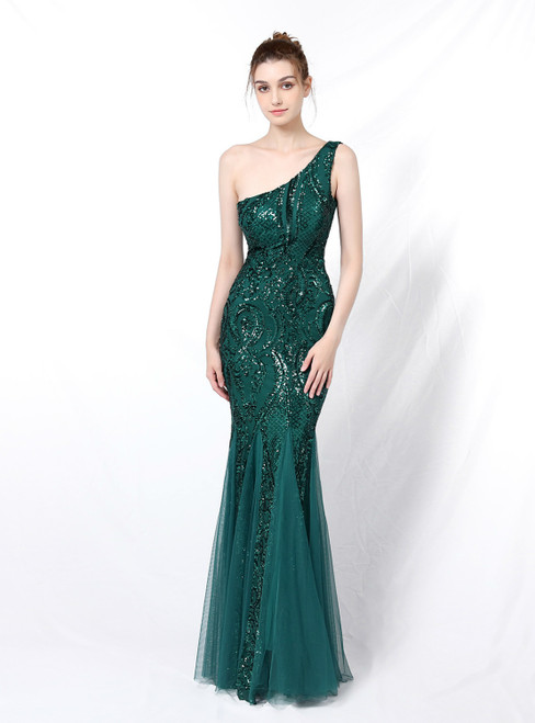 Buy From Find The Perfect Shade Of In Stock:Ship in 48 Hours Green Mermaid Sequins One Shoulder Prom Dress