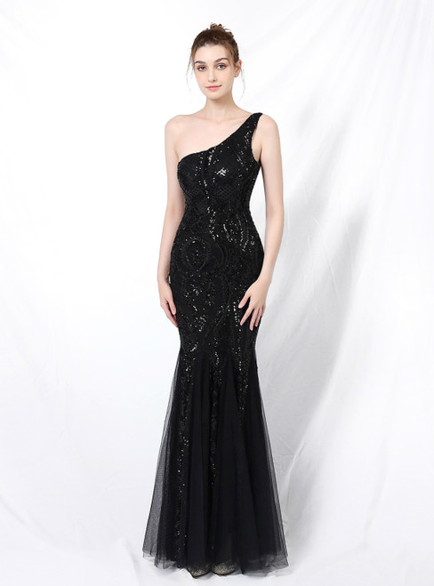 A Great Variety Of In Stock:Ship in 48 Hours Black Mermaid Sequins One Shoulder Prom Dress