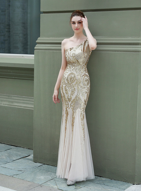 Demand Attention In In Stock:Ship in 48 Hours Gold Mermaid Sequins One Shoulder Prom Dress
