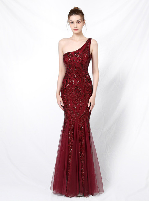 Order Your Ideal In Stock:Ship in 48 Hours Burgundy Mermaid Sequins One Shoulder Prom Dress