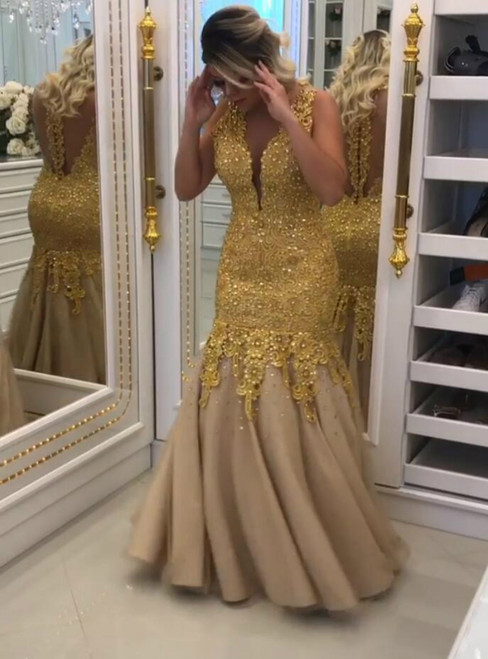 Illusion Back V-Neck Formal Long Dress with Gold Lace-Appliques