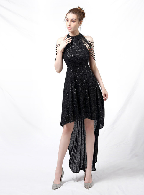 At Great Prices In Stock:Ship in 48 Hours Black Hi Lo Sequins Beading Prom Dress