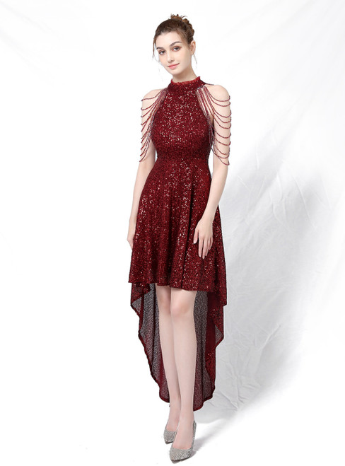 In Stock:Ship in 48 Hours Burgundy Hi Lo Sequins Beading Prom Dress