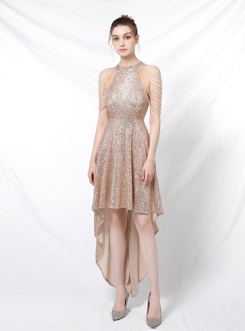 Available In Sizes 0-24 In Stock:Ship in 48 Hours Gold Hi Lo Sequins Beading Prom Dress