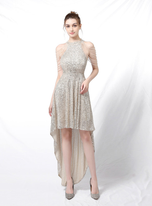 Come In All Styles And Colors In Stock:Ship in 48 Hours Silver Hi Lo Sequins Beading Prom Dress