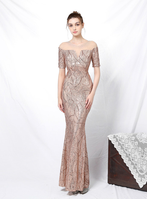 Fit Your Body Type In Stock:Ship in 48 Hours Gold Mermaid Sequins Short Sleeve Prom Dress