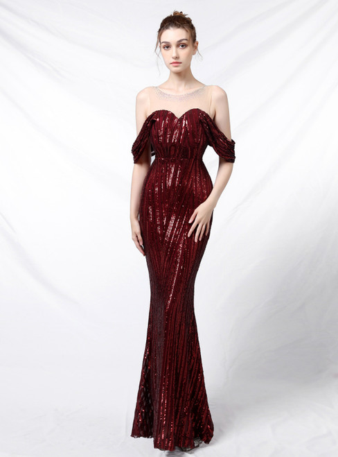Wear a Classic In Stock:Ship in 48 Hours Fashion Burgundy Mermaid Sequins Beading Prom Dress