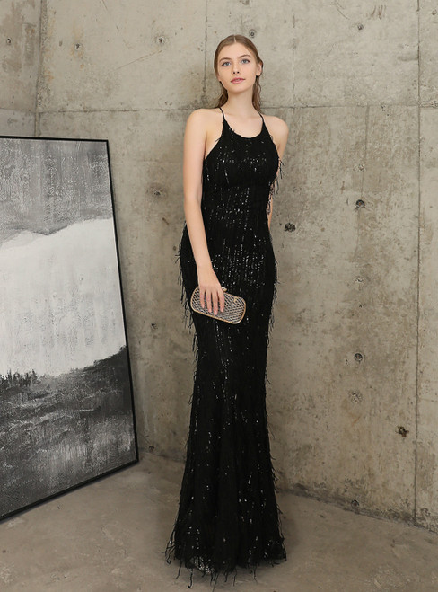 Shop 2020 In Stock:Ship in 48 Hours Black Sequins Halter Backless Prom Dress