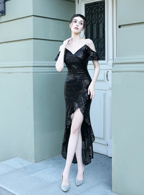 Biggest Sale In Stock:Ship in 48 Hours Black Hi Lo Sequins Short Prom Dress