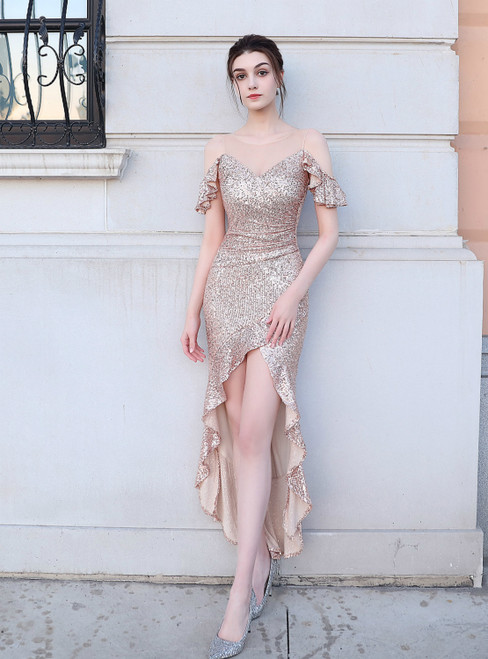 Find Plenty Of In Stock:Ship in 48 Hours Gold Hi Lo Sequins Short Prom Dress