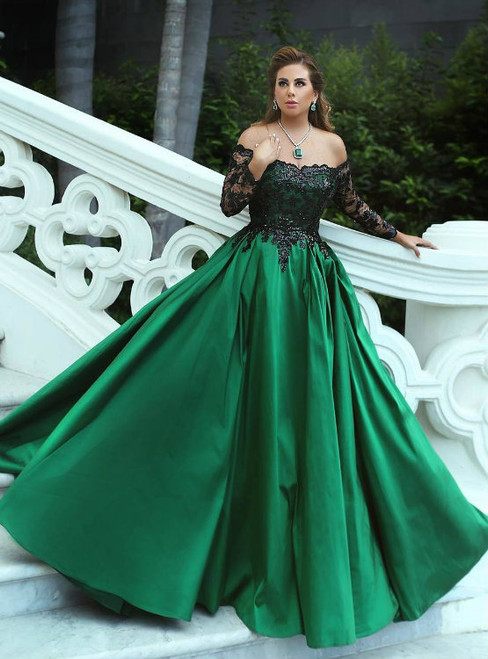 Off the Shoulder Green Satin Prom Ball Gowns with Black Lace Long Sleeves 2018