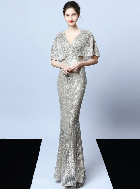 Shop Sexy In Stock:Ship in 48 Hours Silver Mermaid Sequins Bat Sleeve Prom Dress