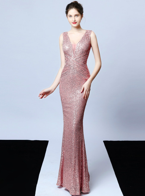 Whether You Are Looking For In Stock:Ship in 48 Hours Pink Sequins V-neck Pleats Prom Dress