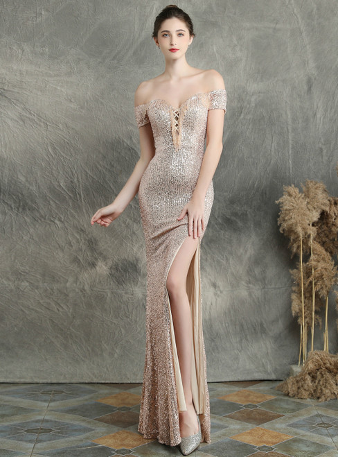 We Are The Destination For Affordable In Stock:Ship in 48 Hours Gold Mermaid Off the Shoulder Prom Dress With Split