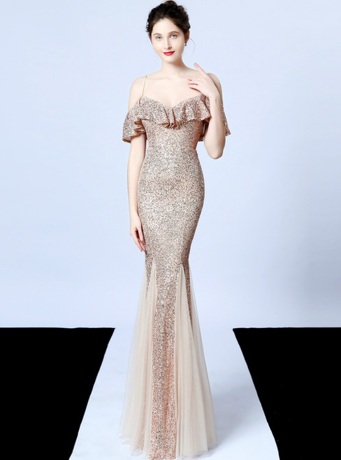 The Best In Stock:Ship in 48 Hours Gold Mermaid Sequins Spaghetti Straps Prom Dress