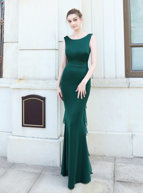 Individually Cut In Stock:Ship in 48 Hours Simple Green Mermaid Backless Prom Dress
