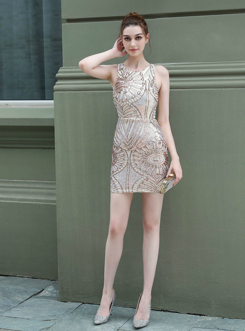 Get An On-Trend In Stock:Ship in 48 Hours Gold Sexy Sequins Mini Party Dress