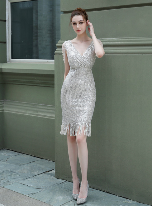 Buy The Newest In Stock:Ship in 48 Hours Silver Sequins V-neck Beading Short Prom Dress