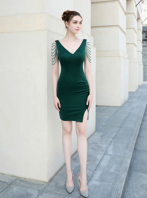 Demand Attention In In Stock:Ship in 48 Hours Green Mermaid V-neck Beading Party Dress