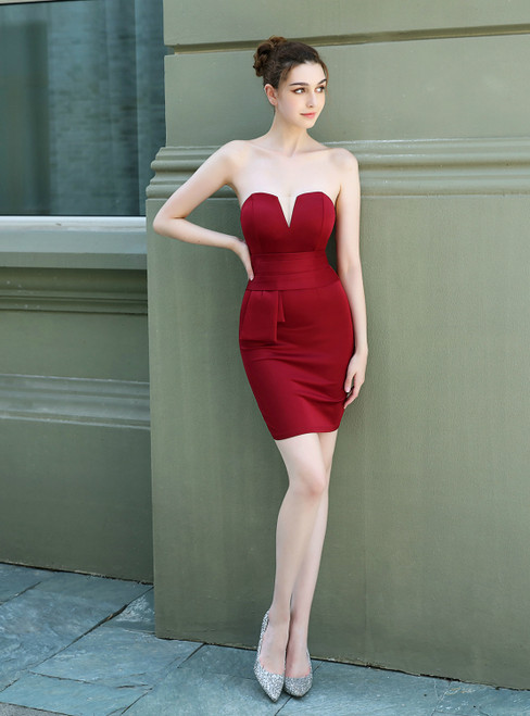 Purchase Your Favorite In Stock:Ship in 48 Hours Burgundy Sheath Spandex Strapless Prom Dress