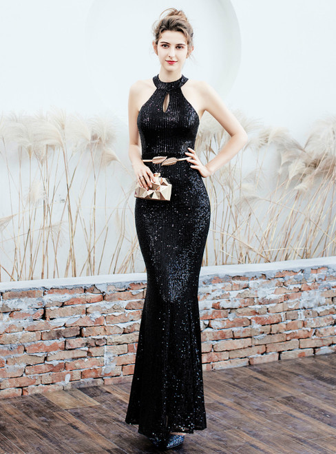 To Choose From In Stock:Ship in 48 Hours Black Halter Lockhole Sequins Prom Dress
