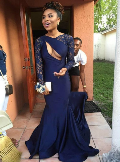 Navy Blue Prom Dresses Mermaid Prom Dresses Sexy Party Gown