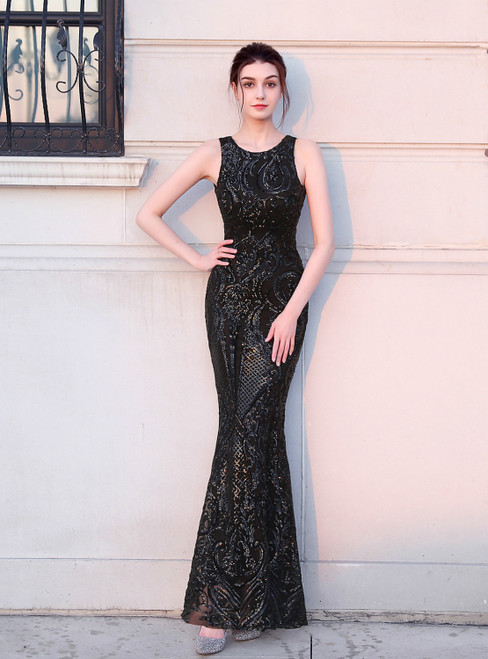 To Fit Your Style In Stock:Ship in 48 Hours Sexy Black Mermaid Sequins Backless Prom Dress
