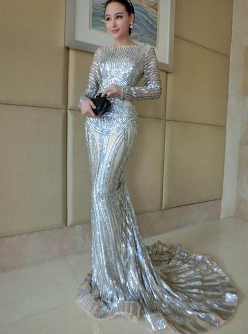Luxury Silver Mermaid Prom Dresses Long Sleeve Sheer Neck Sequins Court Train