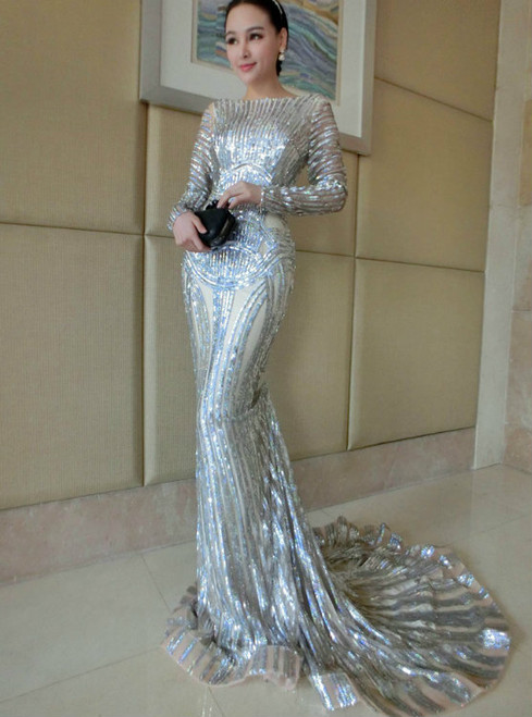 Luxury Silver Mermaid Prom Dresses Long Sleeve Sheer Neck Sequins Court Train
