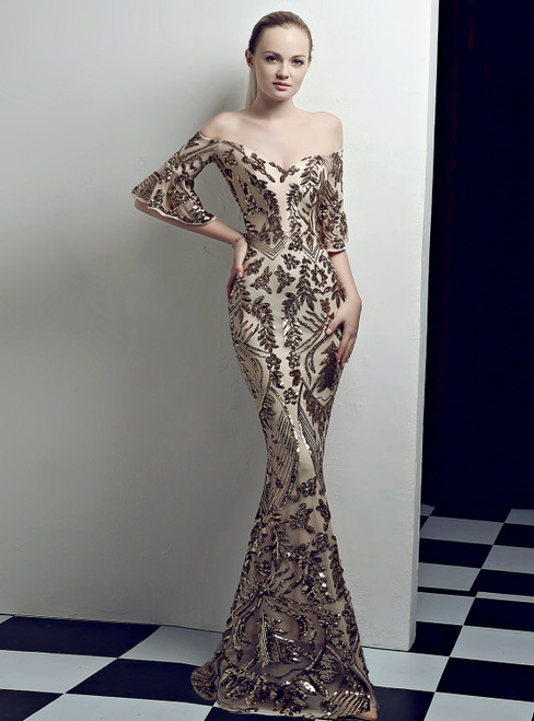 Shop An Amazing Selection Of In Stock:Ship in 48 Hours Gold Mermaid Sequins Off the Shoulder Short Sleeve Prom Dress