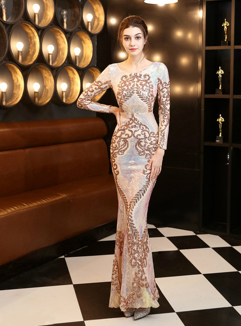 In Stock:Ship in 48 Hours Gold Mermaid Sequins Long Sleeve Prom Dress