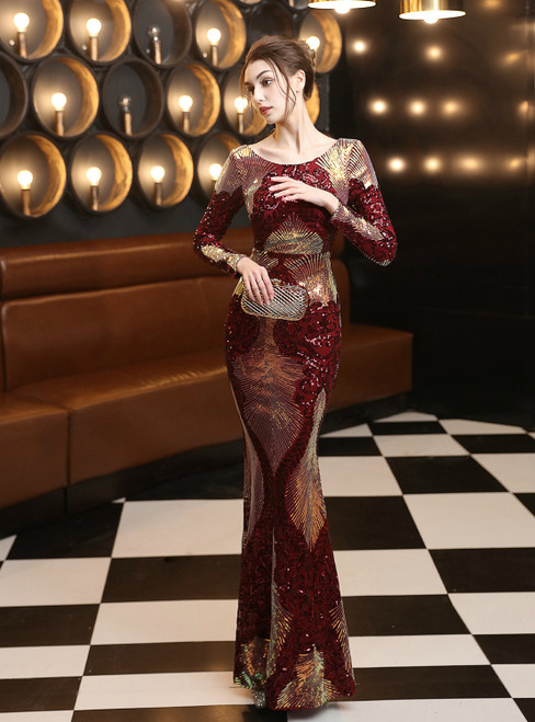 In Stock:Ship in 48 Hours Burgundy Mermaid Sequins Backless Long Sleeve Prom Dress