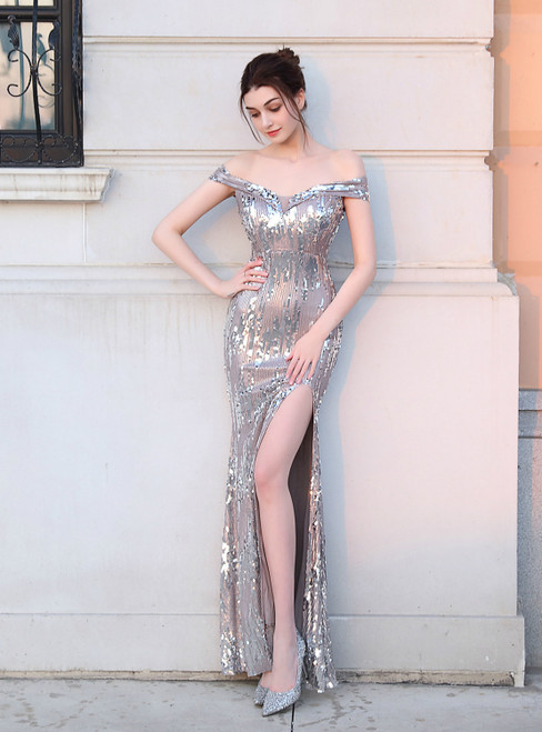 In Stock:Ship in 48 Hours Silver Sequins Off the Shoulder Prom Dress With Split