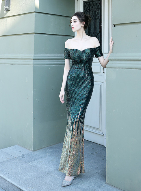 In Stock:Ship in 48 Hours Green Mermaid Sequins Off the Shoulder Prom Dress