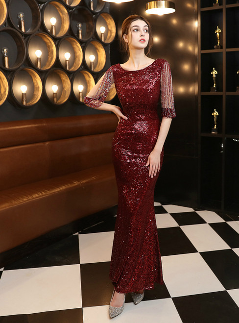 In Stock:Ship in 48 Hours Burgundy Half Sleeve Beading Sequins Prom Dress