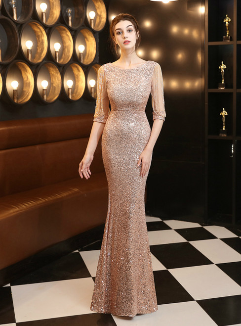In Stock:Ship in 48 Hours Gold Half Sleeve Beading Sequins Prom Dress