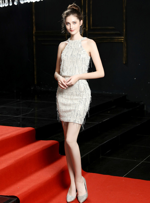 In Stock:Ship in 48 Hours Silver Tassels Halter Homecoming Dress