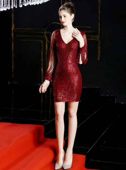 In Stock:Ship in 48 Hours Burgundy Sequins V-neck Long Sleeve Short Homecoming Dress