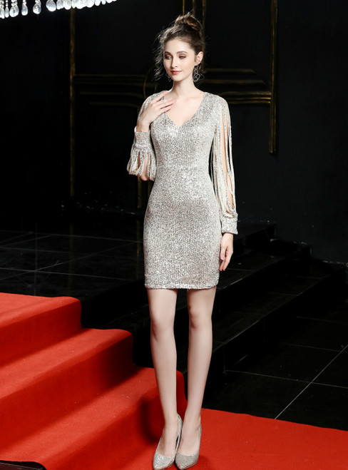In Stock:Ship in 48 Hours Silver Sequins V-neck Long Sleeve Short Homecoming Dress