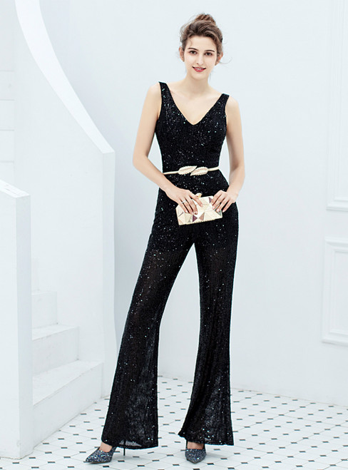 In Stock:Ship in 48 Hours Black Sequins V-neck Party Jumpsuit