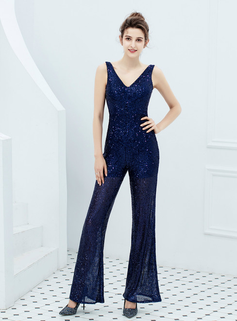 In Stock:Ship in 48 Hours Navy Blue Sequins V-neck Party Jumpsuit
