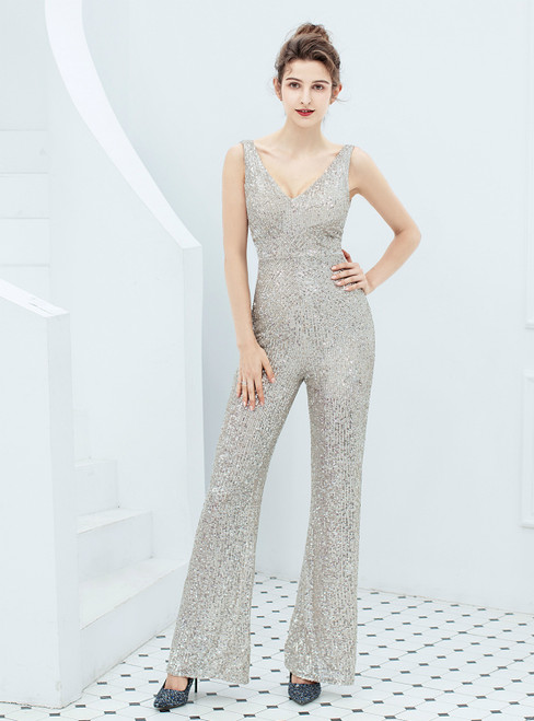 In Stock:Ship in 48 Hours Silver Sequins V-neck Party Jumpsuit