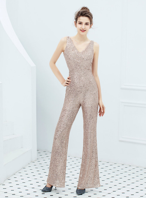 In Stock:Ship in 48 Hours Gold Sequins V-neck Party Jumpsuit