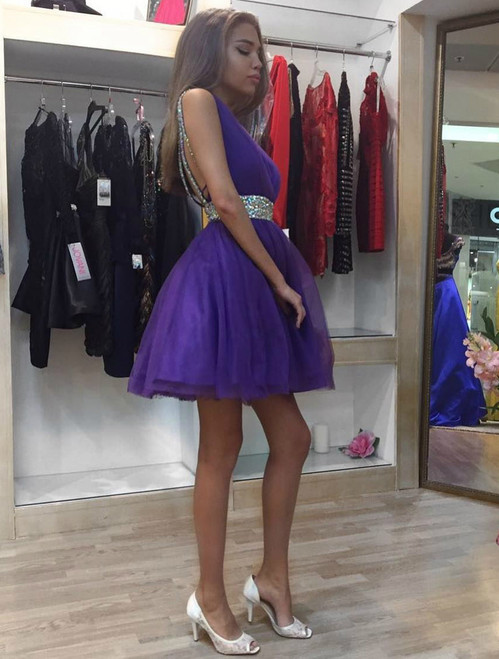 Fit-and-Flare Deep V-Neck Homecoming Dress