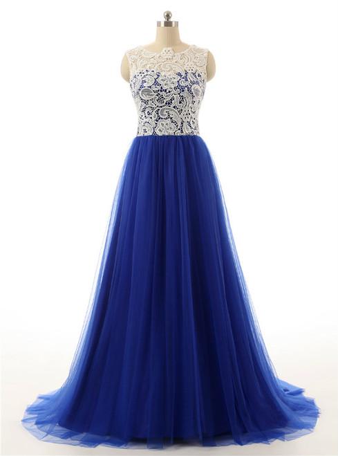 Long Tulle Prom Dresses Royal Blue Prom Dresses 2017 Prom Dresses
