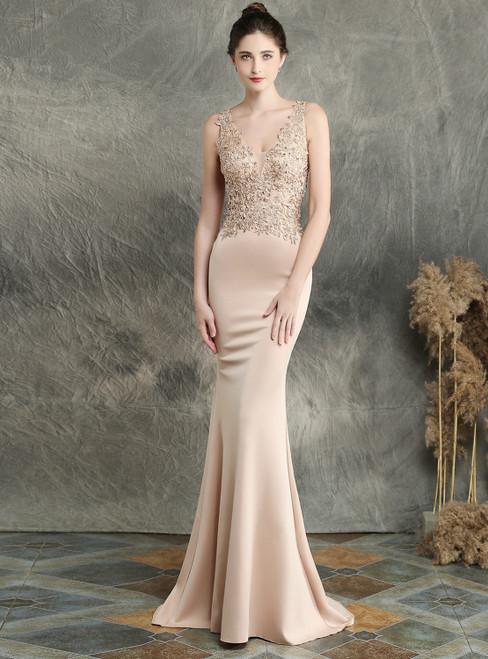 In Stock:Ship in 48 Hours Champagne Mermaid Satin V-neck Appliques Beading Prom Dress