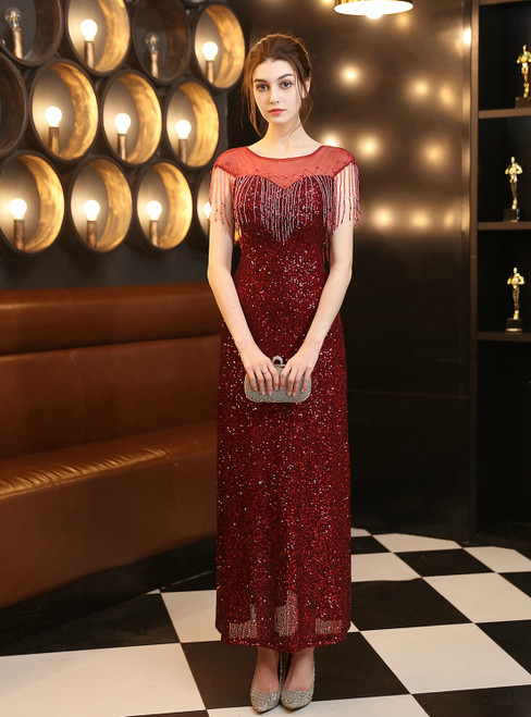 In Stock:Ship in 48 Hours Burgundy Mermaid Sequins Backless Beading Prom Dress